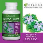 Trunature-Ginkgo 120mg 300เม็ด150วัน แป๊ะก้วย บำรุงสมองปลอดโปร่ง ช่วยให้เลือดไหลเวียนในสมองดี (มี1ขวด exp.07/2020)