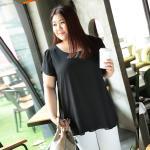 เสื้อชีฟองไซส์ใหญ่แขนสั้นกลีบบัว สีขาว/สีดำ (5XL,6XL,7XL,8XL) MX30403