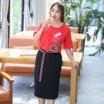 Set 2 ชิ้น เสื้อสีแดง+กระโปรงสีดำ (XL,2XL,3XL,4XL)