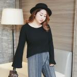 เสื้อผ้าฝ้ายเกาหลี ผ้ายืด แขนกระดิ่ง สีดำ (XL,4XL) FH-313-1