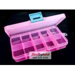 กล่องพลาสติก แบบ 10 ช่อง สีชมพู