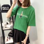 เสื้อยืดไซส์ใหญ่ สีเขียวพิมพ์ลายกระต่าย (XL,2XL,3XL,4XL)