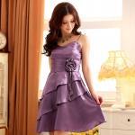 ชุดราตรีผ้าซาติน สายเดี่ยว สีม่วง (XL,2XL,3XL) JK-3101