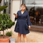 เดรสทำงานแฟชั่นสาวอวบ คอวีป้ายหน้า แขนยาว สีกรมท่า/สีเทา/สีชมพู (XL,2XL,3XL,4XL) F701057