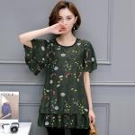 เสื้อชีฟองสีเขียวลายดอกไซส์ใหญ่ แขนผีเสื้อ ชายเสื้อเลเยอร์ (L,XL,2XL,3XL,4XL,5XL)
