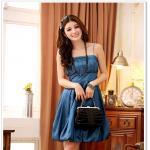 ชุดราตรีผ้าซาติน กระโปรงบอลลูน สีชมพู/สีดำ/สีน้ำเงิน (XL,2XL,3XL)