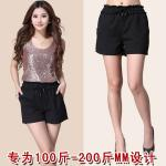 กางเกงขาสั้น เอวยางยืด สีดำ (2XL,3XL,4XL,5XL)
