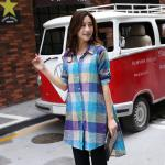 เสื้อเชิ้ตผ้าcottonตัวยาว พิมพ์ลายตาราง คลาสสิคคอลเลคชั่น สีเนวี่บลู/สีเหลือง ไซส์ (XL,2XL,3XL,4XL)