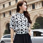 เสื้อชีฟองลายดอกไซส์ใหญ่สไตล์เกาหลี สีขาว/สีเขียว แขนสั้น (XL,2XL,3XL,4XL,5XL)