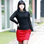 เสื้อผ้าลูกไม้ สีดำ/สีขาว แขนยาว คอปกแต่งไข่มุก (L,XL,2XL,3XL,4XL,5XL)