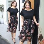เดรสสีดำตัดต่อผ้าสวยเก๋สำหรับสาวอวบ (XL,2XL,3XL) DQ0092