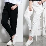 กางเกงยีนส์ขายาวสำหรับสาวอวบ แต่งขาด ๆ มีสีขาว/สีดำ (32,34,36,38,40,42) >LYX4112<