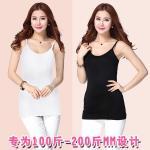 เสื้อกล้ามสายเดี่ยวไซส์ใหญ่ สีขาว/สีดำ ผ้ายืด คอวี (2XL,3XL,4XL)