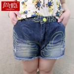 กางเกงยีนส์ขาสั้นไซส์ใหญ่ปักลาย สีน้ำเงินยีนส์ (32,34,36,38,40,42)