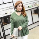 เสื้อหนังนิ่ม แขนยาว คอโชคเกอร์แต่งไข่มุก สีเขียว (XL,2XL,3XL,4XL)