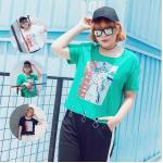 [PRE-ORDER] เสื้อยืดสตรีทแฟชั่นคอกลมสกรีนลาย สีขาว/สีดำ/สีเขียว (XL,2XL,3XL)