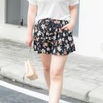 กางเกงขาสั้นพริ้นท์ลาย สีดำลายดอก เอวยางยืดรูดผูกเชือก (XL,2XL,3XL) Ai-1530