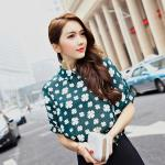 เสื้อชีฟองลายดอกไซส์ใหญ่สไตล์เกาหลี สีขาว/สีเขียว แขนสั้น (XL,2XL,3XL,4XL,5XL) E3103