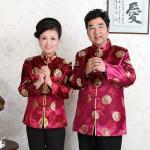 เสื้อจีนชาย-หญิงพิมพ์ลายคลาสสิก สีม่วงแดง (XL,2XL,3XL) MJ0001-A