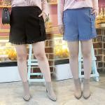 กางเกงขาสั้นไซส์ใหญ่ สีดำ/สีน้ำเงิน ตกแต่งด้วยแถบโครเช่ต์ลายสวย ปลายขากุ๊นแถบโครเช่ต์เก๋มาก (XL,2XL,3XL) Ai-2217