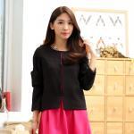 เสื้อคลุมแจ็คเก็ตสั้นไซส์ใหญ่ high-end สีดำ แขนยาว ติดตะขอหน้า (XL,2XL,3XL)