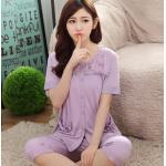 ชุดนอนผ้าฝ้ายสีม่วง แขนสั้น ขาสั้น (M,L,XL,2XL,3XL,4XL) Yi-074