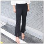 กางเกงขายาวสีดำ ปลายขาตัดแฉกตกแต่งด้วยผ้าลูกไม้ (3XL,4XL,5XL,6XL)