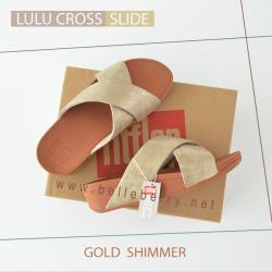 * NEW * FitFlop : Lulu Cross Slide : Gold : Size US 7 / EU 38
