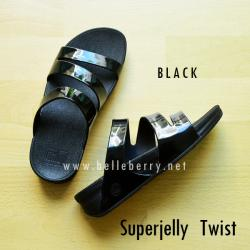 **พร้อมส่ง** FitFlop SUPERJELLY TWIST : Black : Size US 8 / EU 39