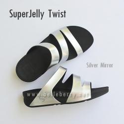 **พร้อมส่ง** FitFlop SUPERJELLY TWIST : Silver Mirror : Size US 8 / EU 39