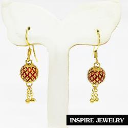 inspire Jewelry ต่างหูชุบทองลงยา ห้อยตุ้งติ้ง งานปราณีต สวยงาม เหมาะกับการแต่งกายทุกแบบ