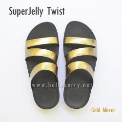 **พร้อมส่ง** FitFlop SUPERJELLY TWIST : Gold Mirror : Size US 6 / EU 37