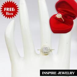 Inspire Jewelry ,แหวนฝังเพชรเม็ดกลมล้อมเพชรรอบ และบ่าทั้งสองข้าง ตัวเรือน หุ้มเศษทองแท้ 24K สวยหรู พร้อมกล่องกำมะหยี่