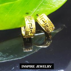 INSPIRE JEWELRY ต่างหูห่วงทองฉลุลายจีน งานปราณีตแบบร้านทอง สวยงาม น่ารัก ใส่ถอดง่าย วงในกว้าง 2x1.5cm หน้ากว้าง 0.8cm ใส่ได้กับเสื้อผ้าชุดแบบ ของขวัญวันเกิด วันแม่ ปีใหม่ วาเลนไทน์