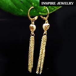 INSPIRE JEWELRY ต่างหูหัวใจทองตัดลาย ห้อยระย้า long 7cm สวยงาม ใส่ถอดง่าย ใส่ได้กับเสื้อผ้าชุดแบบ ของขวัญวันเกิด วันแม่ ปีใหม่ วาเลนไทน์