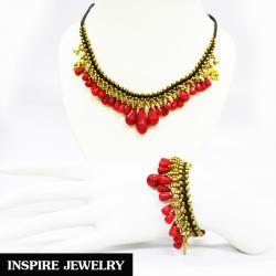 Inspire Jewelry , ชุดเซ็ทสร้อยคอปะการัง พร้อมสร้อยข้อมือปะการัง ร้อยด้วยเชือกเทียนและอะไหล่ทองเหลือง งานมือ ปราณีต งดงาม มีคุณค่า พร้อมถุงกำมะหยี่