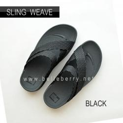 * NEW * FitFlop : SLING WEAVE : Black / Dark Shadow : Size US 8 / EU 41