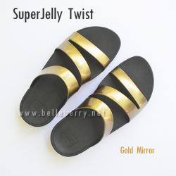 **พร้อมส่ง** FitFlop SUPERJELLY TWIST : Gold Mirror : Size US 5 / EU 36