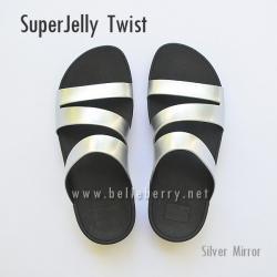 รองเท้า FitFlop SUPERJELLY TWIST : Silver Mirror : Size US 6 / EU 37
