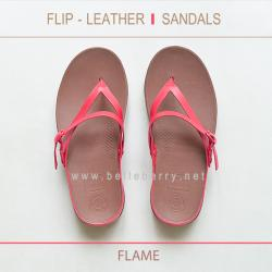 * NEW * FitFlop : FLIP Leather Sandals : Flame : Size US 6 / EU 37