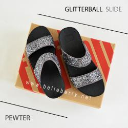 FitFlop : GLITTERBALL Slide : Pewter : Size US 9 / EU 41