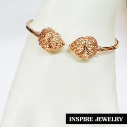 Inspire Jewelry กำไลหลอดต่อลายหัวบัวตูม ฉลุลาย หล่อทองเหลืองทั้งอัน ชุบนาก หรือทองชมพู สวยงาม ปราณีต
