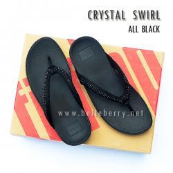 รองเท้า FitFlop : CRYSTAL SWIRL : All Black : Size US 8 / EU 39