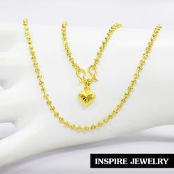 Inspire Jewelry , สร้อยคอลายเม็ดอิตาลี 3min ยาว18นิ้ว ห้อยหัวใจตอกลาย หุ้มทองแท้ 100% พร้อมถุงกำมะหยี่