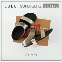 FITFLOP LULU SUPERGLITZ SLIDE : SILVER : US 7 / EU 38