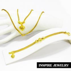 Inspire Jewelry ,sets สร้อยคอลายสี่เสาห้อยหัวใจตอกลาย ยาว 18 นิ้ว พร้อมสร้อยข้อมือทองลายสี่เสายาว 7 นิ้ว ห้อยหัวใจทองตอกลาย เส้นขนาด 1 บาท พร้อมถุงกำมะหยี่