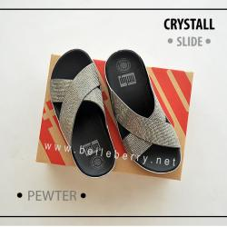 FitFlop CRYSTALL Slide : Pewter : Size US 6 / EU 37