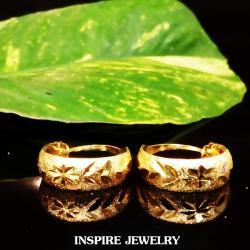 INSPIRE JEWELRY ต่างหูห่วงทองตัดลาย สวยงาม ใส่ถอดง่าย หน้ากว้าง0.7cm วงในขนาด 2x2cm ใส่ได้กับเสื้อผ้าชุดแบบ ของขวัญวันเกิด วันแม่ ปีใหม่ วาเลนไทน์