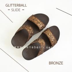 * NEW * FitFlop : GLITTERBALL Slide : Bronze : Size US 6 / EU 37