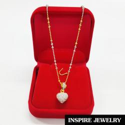 Inspire Jewelry ชุดเซ็ทสร้อยคอสองกษัติรย์ตามแบบ พร้อมจี้หัวใจฝังเพชร ในกล่องกำมะหยี่สวยหรู งานจิวเวลลี่่ สวยงาม ปราณีต ใส่ได้กับเสื้อผ้าทุกชุดมีสร้อยคอให้เลือกทั้ง 16นิ้ว, 17นิ้วหรือ 18นิ้ว